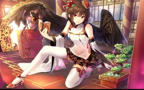 anime, Touhou, anime girls, Shameimaru Aya, wings