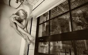 sepia, model, window, monochrome, girl, bathtub
