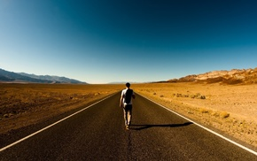road, men, highway, walking, desert