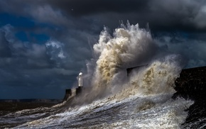 storm, water, nature, sea, lighthouse, coast