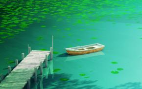 lily pads, boat, plants, lake, nature, artwork