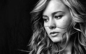 model, face, Brie Larson, girl, actress, monochrome