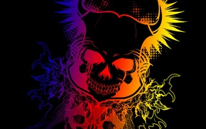 colorful, Devil, gradient, skull, dark, black