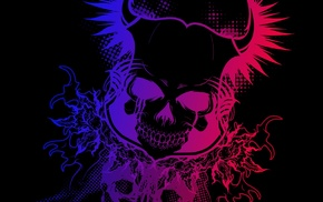 colorful, black, Devil, skull, gradient, dark
