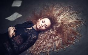 hair, closed eyes, girl, blonde, books, long hair