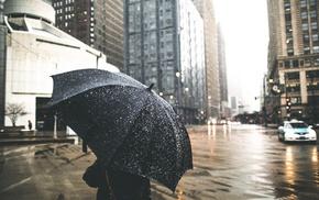rain, umbrella, city