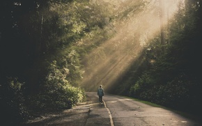 forest, girl outdoors, road, sunlight