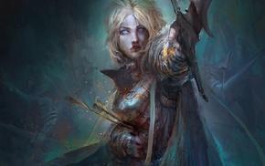artwork, death, fantasy art, girl, arrows
