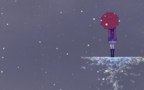 Noragami, brunette, snow, umbrella, gray background, long hair