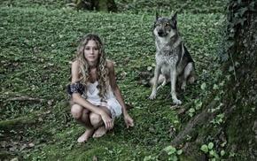 girl, dog, model, girl outdoors, animals