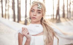 blonde, butterfly, model, girl