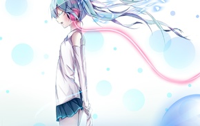 closed eyes, anime girls, Vocaloid, headphones, Hatsune Miku, anime
