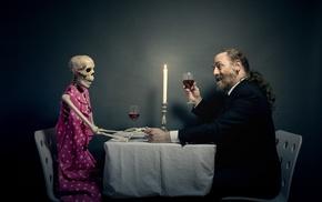 skeleton, candles, men, humor