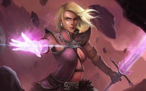 sword, warrior, girl, fantasy art, artwork
