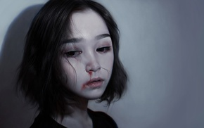 abuse, girl, artwork, blood, face