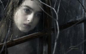 girl, model, rain, fantasy art, window