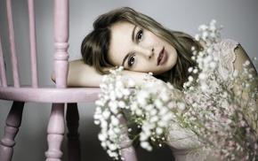 flowers, girl, model, chair