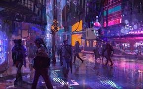 people, city, futuristic, artwork, digital art