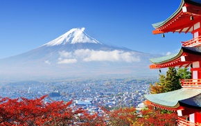 building, Mount Fuji, Japan, trees, mountains, Asian architecture