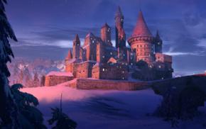castle, night, digital art