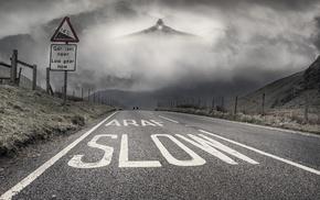 Avro Vulcan, road, Wales, aircraft, digital art