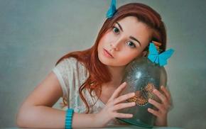 model, girl, butterfly, jars, redhead