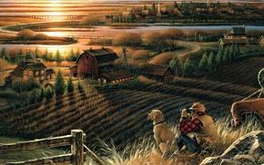 digital art, dog, field, landscape