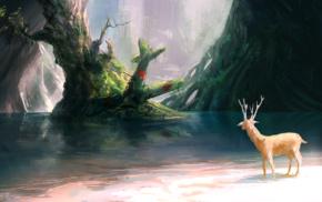 wreck, deer, branch, nature, trees, digital art