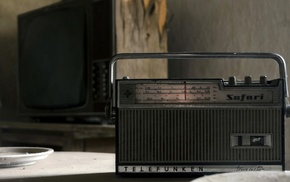 radio, dust, table, old, television sets, vintage
