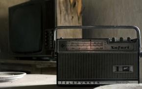 radio, dust, table, old, television sets, vintage