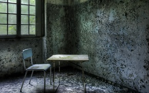 wall, window, HDR, interior, table, abandoned