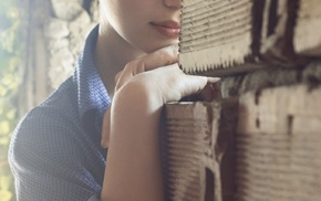 brunette, face, eyeliner, checkered, girl, shirt