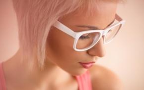 blonde, girl, glasses, face