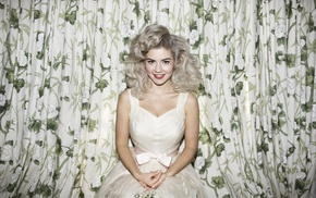 Marina and the Diamonds, blonde, girl, white dress, looking at viewer