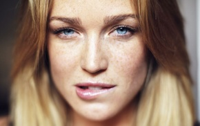 girl, blue eyes, looking at viewer, Caity Lotz, freckles, biting lip
