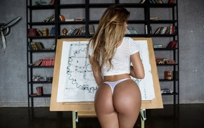 blonde, ass, girl, back, thong, Anastasiya Kvitko