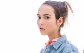 girl, portrait, face, simple background