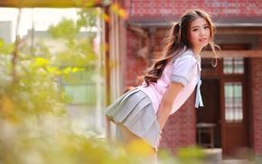 model, wavy hair, outdoors, school uniform, bent over, girl