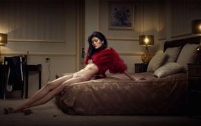 girl, bed, Asian, model