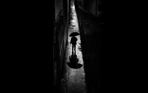 monochrome, alone, night, dark