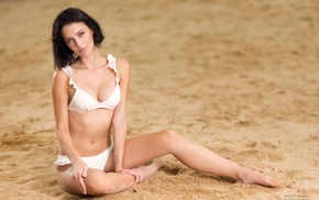 sitting, girl, sand, looking at viewer, white bikini