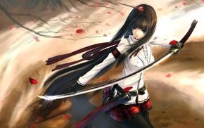 anime girls, anime, long hair, katana, original characters, sword