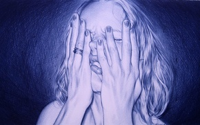 girl, artwork, face, Juan Francisco Casas, drawing, pencils