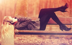 lying down, blonde, girl, bench, headphones, girl outdoors