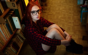 girl with glasses, redhead, Ivan Babydov, girl, sitting, portrait