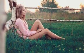 girl, grass, legs, barefoot