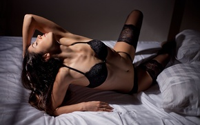 black lingerie, hands on head, in bed, girl, closed eyes, black stockings
