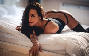 in bed, tattoo, black lingerie, black stockings, girl, ass
