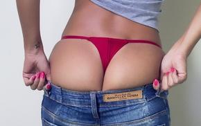 pants, girl, brunette, thong, jeans, back