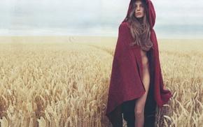 no bra, field, hoods, Little Red Riding Hood, girl outdoors, bottomless